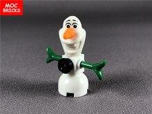 Single sale DIY Cartoon Action figure Olaf Snowman Educational building block bricks kids toys for children Dolls Xmas gifts