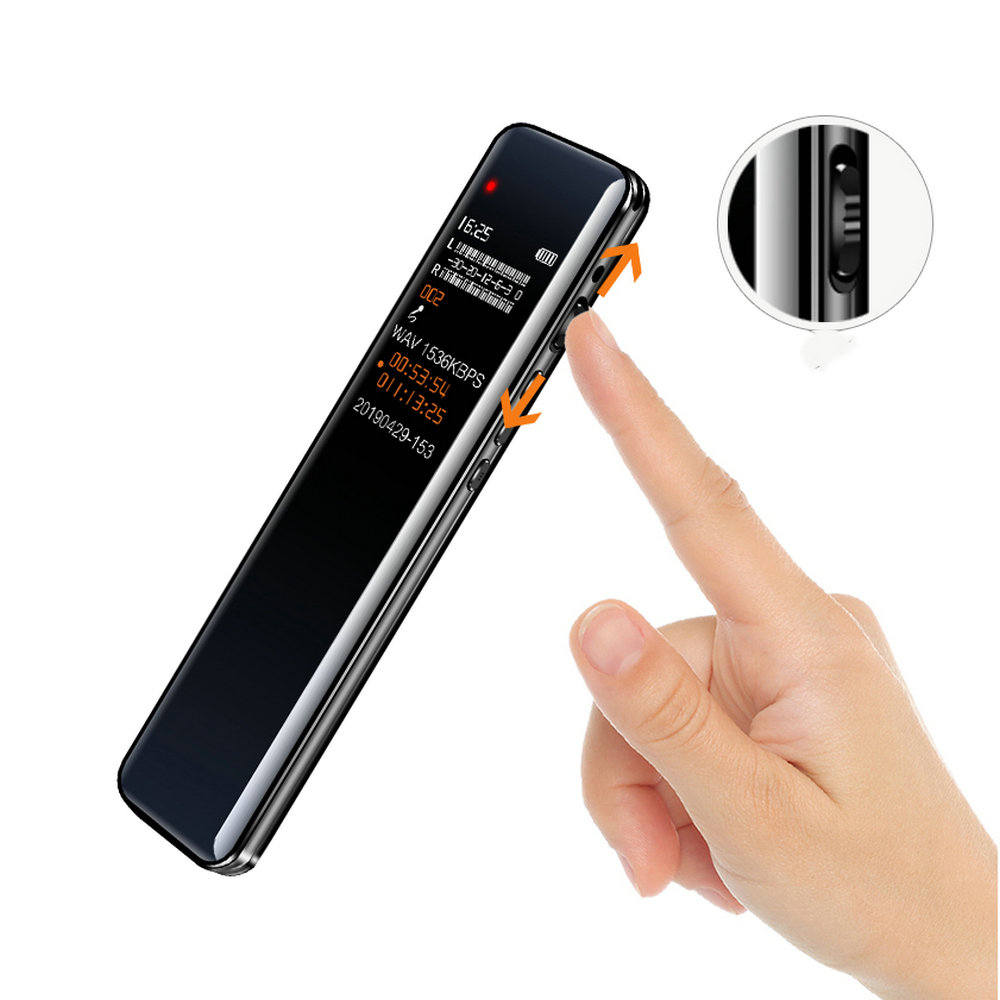 Long Time Digital Voice Recorders Sound Audio Recording Dictaphone Voice Activated Recording Device with MP3 Player, Password