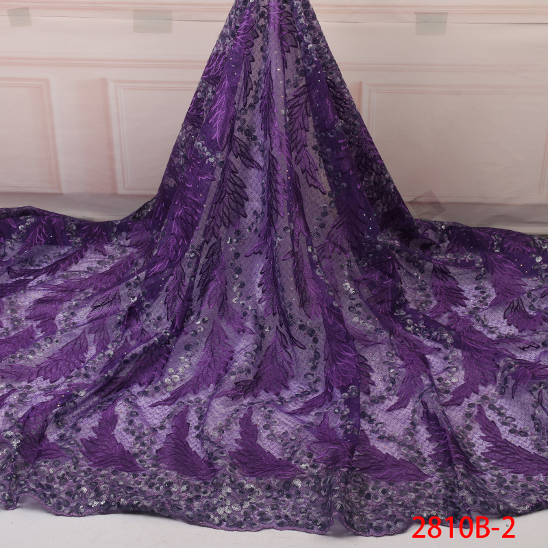 African Lace Fabric Sequins Lace Fabric Latest High Quality Nigerian French Party Lace Fabric For Tulle Lace Fabric YA2810B-2