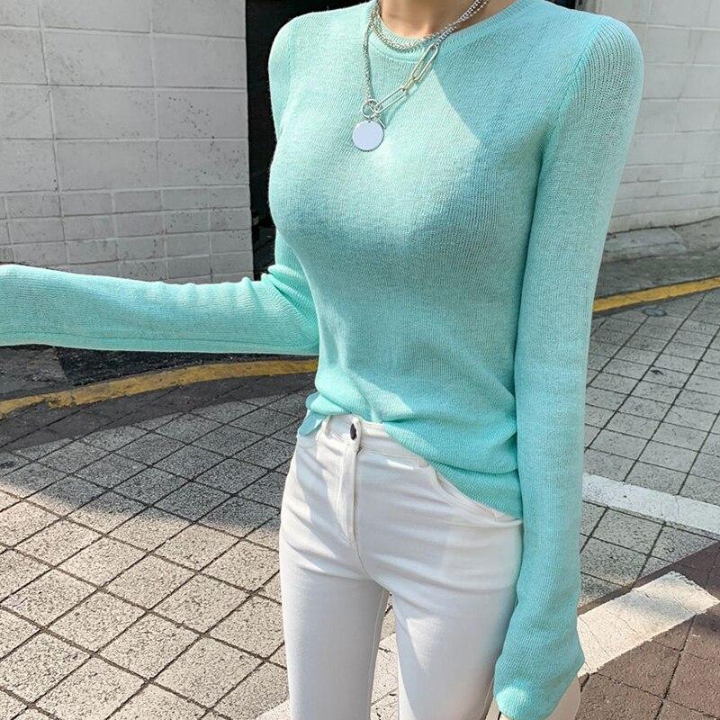 Shintimes Thin Knitted T Shirt Women 2019 Korean Clothes High Elastic T-Shirt Woman Tops Casual Tee Shirt Femme Camisas Mujer