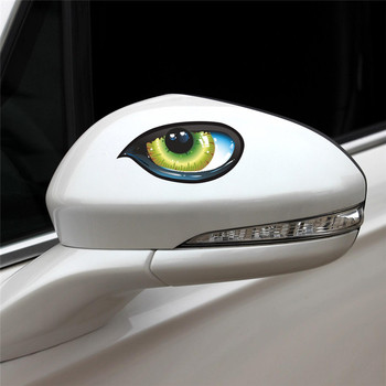 3D Funny Reflective Green Cat Eyes Car Body Racing Side Door Stickers 12x7cm Waterproof Car Stickers Accessories Car Decal image