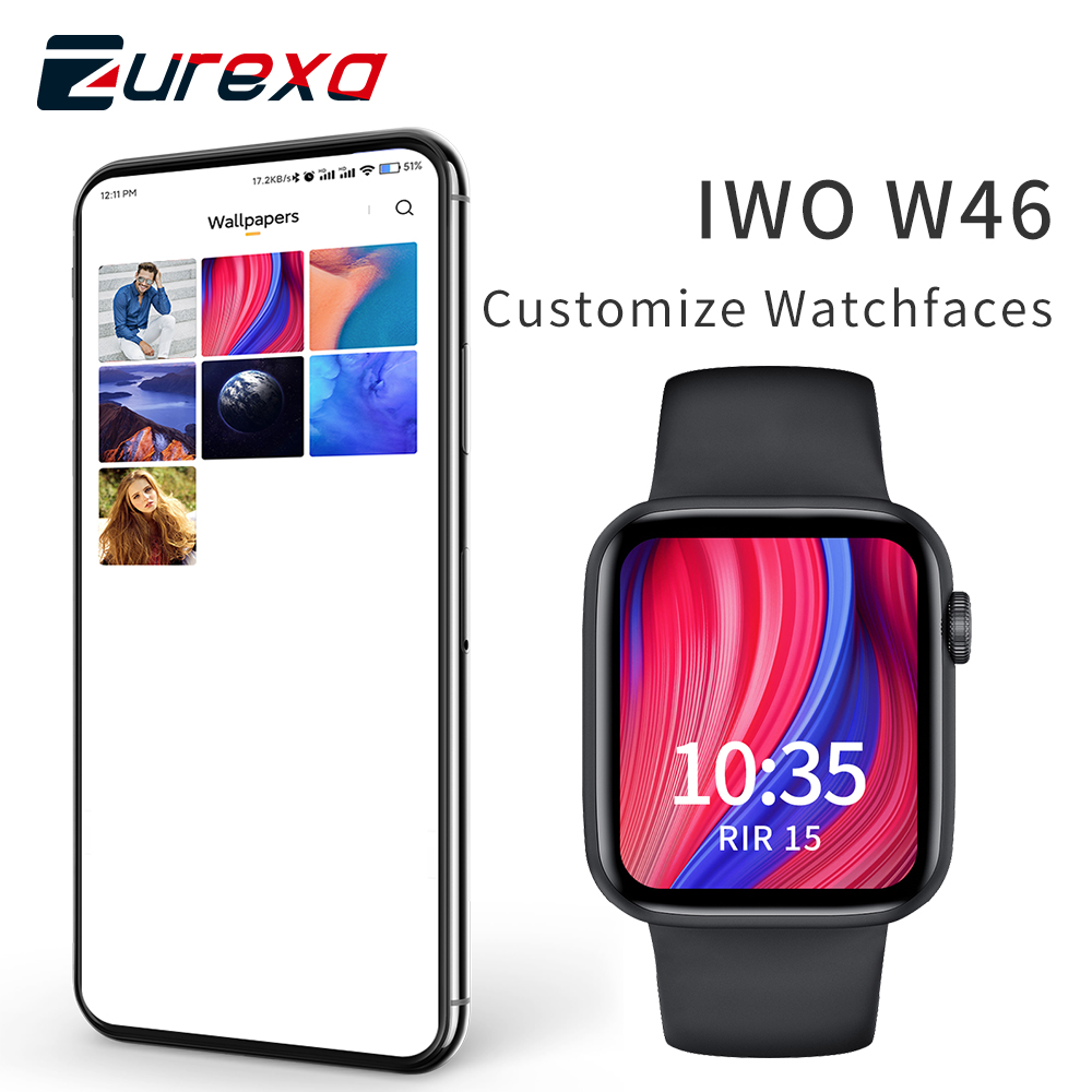 Zurexa IWO W46 Smart Watch Men Women Custom Watchface Smartwatch IP68 Waterproof Wireless Charging ECG Watches For Android IOS
