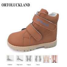 Ortoluckland Kids Leather Casual Shoes Original Orthopedic Shoes Girls Autumn Spring Brown Navy Blue Purple Ankle Boots