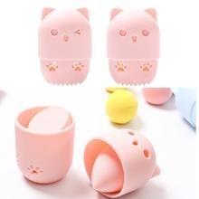 Kitten Beauty Powder Puff Blender Holder Sponge Makeup Egg Drying Case Portable Soft Silicone Cosmetic Blender Sponge Box Holder