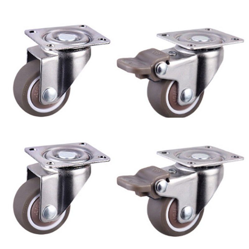 4pcs Furniture Casters Wheels Soft Rubber Swivel Caster Silver Roller Wheel For Platform Trolley Chair Household Accessori