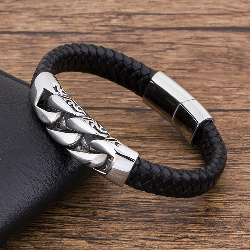 Charm Genuine Leather Black Stainless Steel Magnetic hk Bracelet Men Birthday Gift For boy friend