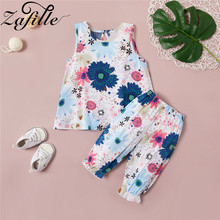 ZAFILLE Summer Cute Kids Clothes Sleeveless Printed Top+Pant Girls Outfits 2020 New Toddler Sets Suits