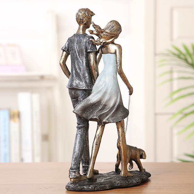 Couple Walking With Dog Handmade Resin Statue 6