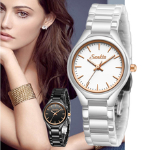 Women Watches Waterproof Quartz Watch Lady Dress Bracelet Clock SUNKTA Fashion Casual Simple Style Rose Gold Full Ceramic