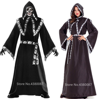 Men Friar Priest Costume Gothic Scary Skeleton Medieval Women Witch Halloween Cosplay Horror Cloak Robe Carnival Party Disguise