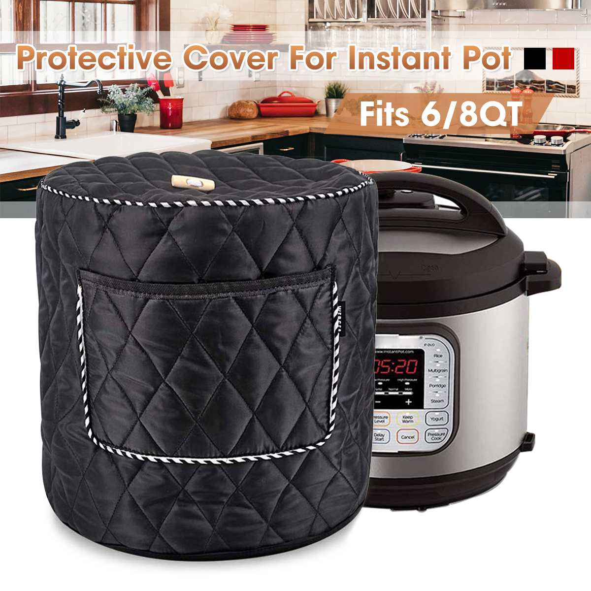 For 6/8QT Electric Pressure Cooker Cover Cotton Dust Cover Home Kitchen Accessories Cleaning Tool Black Red
