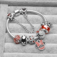 Dropshipping Hot Mickey Minnie Silver Color Charm Bracelet Bangle Red Enamel Crystal Fashion Bead Gift