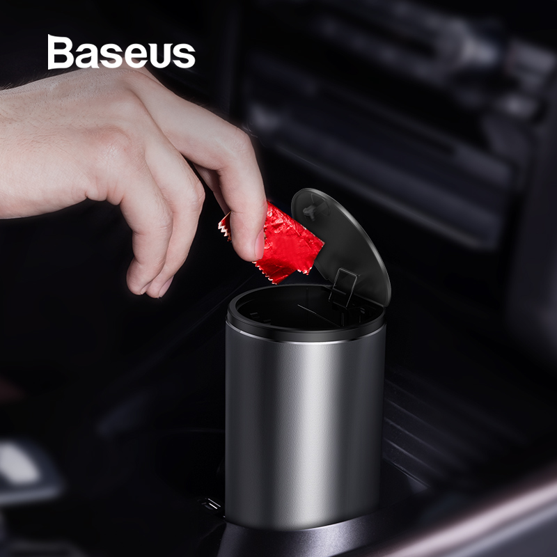 Baseus Alloy Car Trash Can Auto Organizer Storage Car Garbage Bin Ashtray Dust Case Holder Auto Accessories