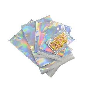 Image 4 - Bolsa adhesiva de papel de aluminio holograma, 100 unidades, bolsas de almacenamiento de mensajería, sobres, correo Postal