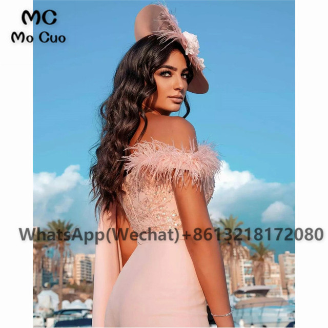 2021 Chic Jumpsuit Prom Dresses Pants One Shoulder Celebrity Dress Appliques Feather Sweetheart Prom Dress for women 3