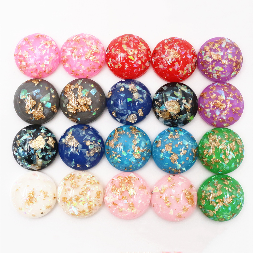 10pcs Resin Cabochons with Foil Random Mixed Colours 12mm