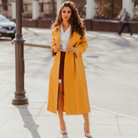 New Fashion Autumn Winter Women Windbreaker Long Section Coat Ladies Solid Color Elegant Trench Coat Korean Casual Outerwear D25