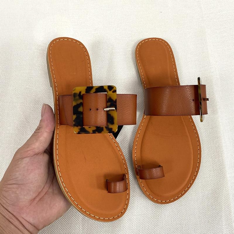 Women Sandals Beach Style Summer Shoes for Woman Flat Sandal 2021 Fashion Leather Slides Plus Size