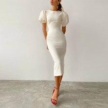 2021 branco o-pescoço puff manga senhora do escritório vestido de verão cintura alta vestido apertado simples elegante festa vestido feminino
