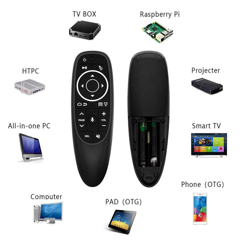 G10 G10S Pro Suara Remote Control 2.4G Nirkabel Udara Mouse Giroskop IR Belajar untuk Android Tv Box HK1 H96 max X96 Mini