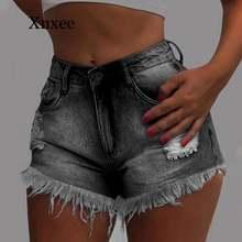 Женские винтажные рваные джинсовые шорты с бахромой женские
