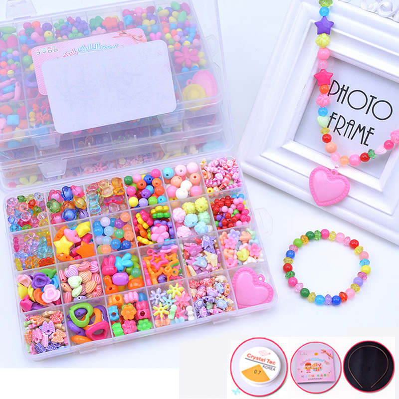 DIY Handmade Beaded Toy With Accessory Set Children Creative 24 Grid Girl Jewelry Making Toys Educational Toy Kid Christmas Gift