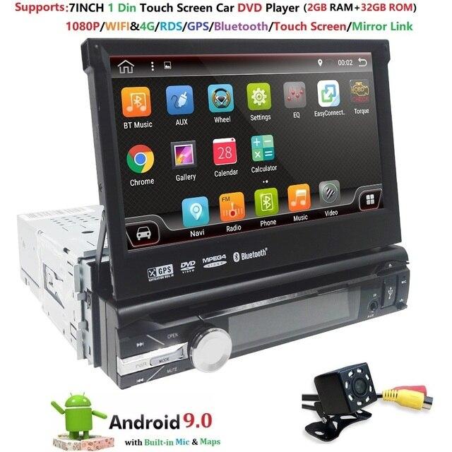 """7 """"Đa Năng 1din Android 9.0 QuadCore DVD Xe Hơi GPS Dẫn Đường 4GWifi BT AutoRadio 2GB RAM 32GB ROM SWC RDS OBD2 DAB CD Bản Đồ"""
