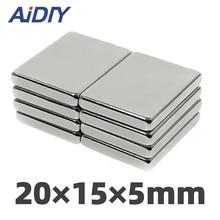 AI DIY 5/10/50 Pcs 20 x 15 x 5mm N35 Neodymium Magnet Rectangular Super Strong Power Block Rare Earth MagnetS 20 * 15 * 3mm omo magnetics 5pcs big bulk super strong strip block magnets rare earth neodymium 60 x 20 x 10 mm n35