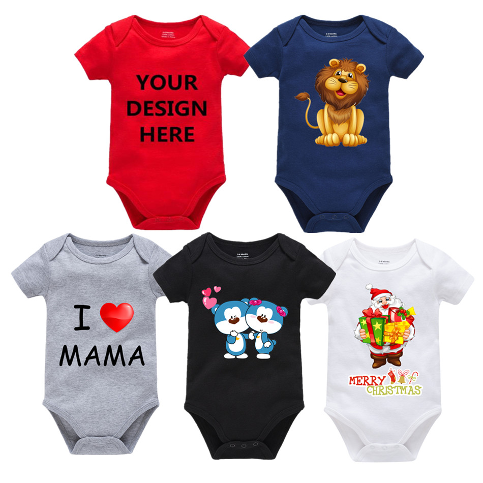 Chritmas Custom Text Photos Baby Bodysuits Clothes Personalized Baby Jumpsuit Overalls Cute Infant Onesies Unisex Kid Clothes