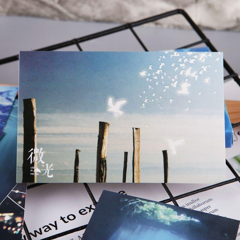 30pcs Vintage Luminous Postcard Glow In The Dark Ocean Greeting Post Card Novelty Xmas Greeting Cards Gift H7EC