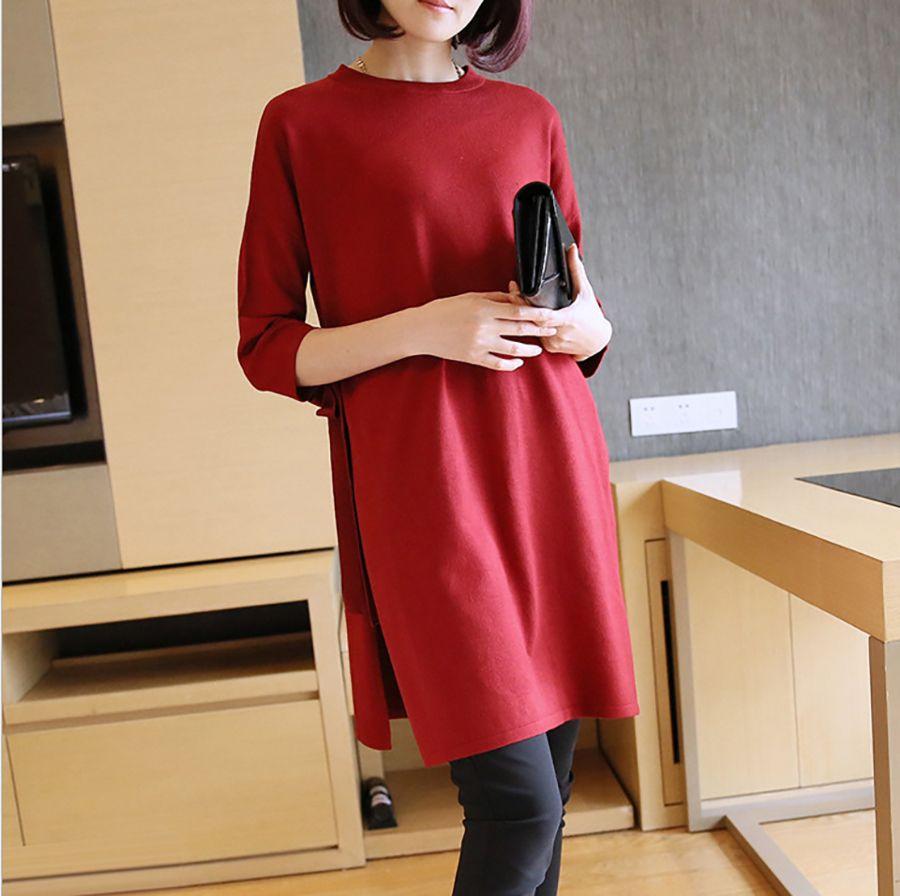 ZYFPGS 2019 rouge femmes chandail élégant Design créatif chandail pour les femmes Harajuku Long lâche laine Simple col rond pull XXL