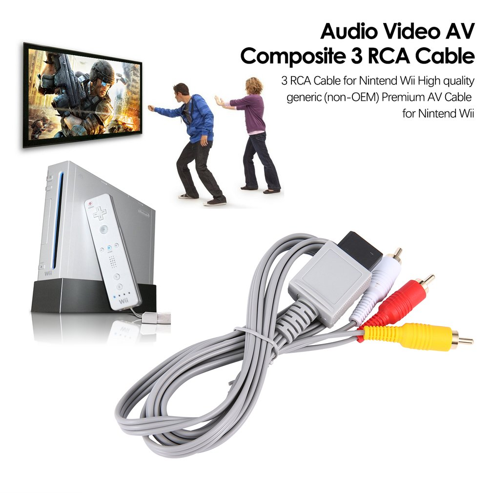 1.8 Meters Gold Plated Audio Video AV Composite 3 RCA Cable For Nintendo For Wii
