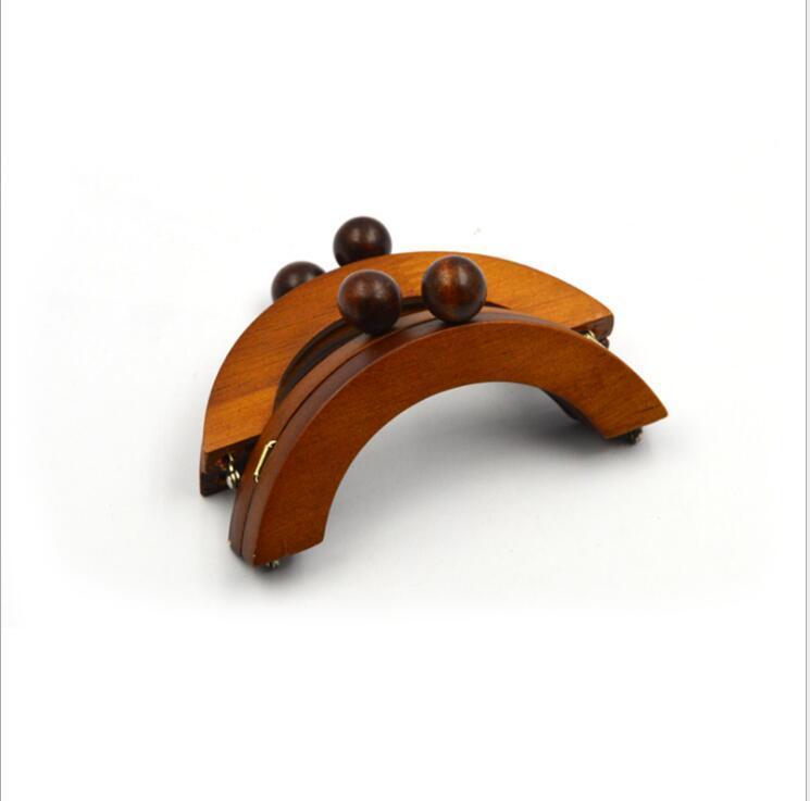 Café en bois massif matériau aimant à l'intérieur grand fermoir rond-10 Pcs de bois sac poignée cintre mode marron en bois sac à main cadre
