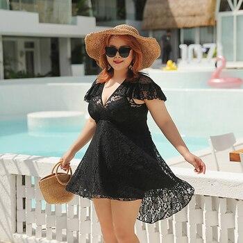 2020 nuevo traje de baño negro de talla grande de una pieza con falda de tamaño grande para mujeres Push Up acolchado traje de baño de encaje traje de baño ropa de playa