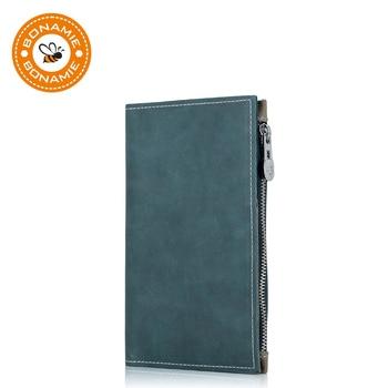 BONAMIE Genuine Leather Passport Cover Solid Credit Card Holder Vintage Men Women Case Business Unisex Travel Wallet