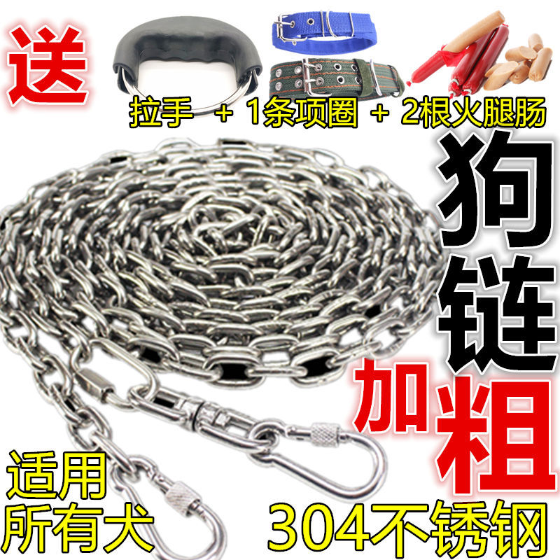 304 Stainless Steel Dog Chain Send Neck Ring Small, Medium And Large Dog Hand Holding Rope Metal Anti-Bite