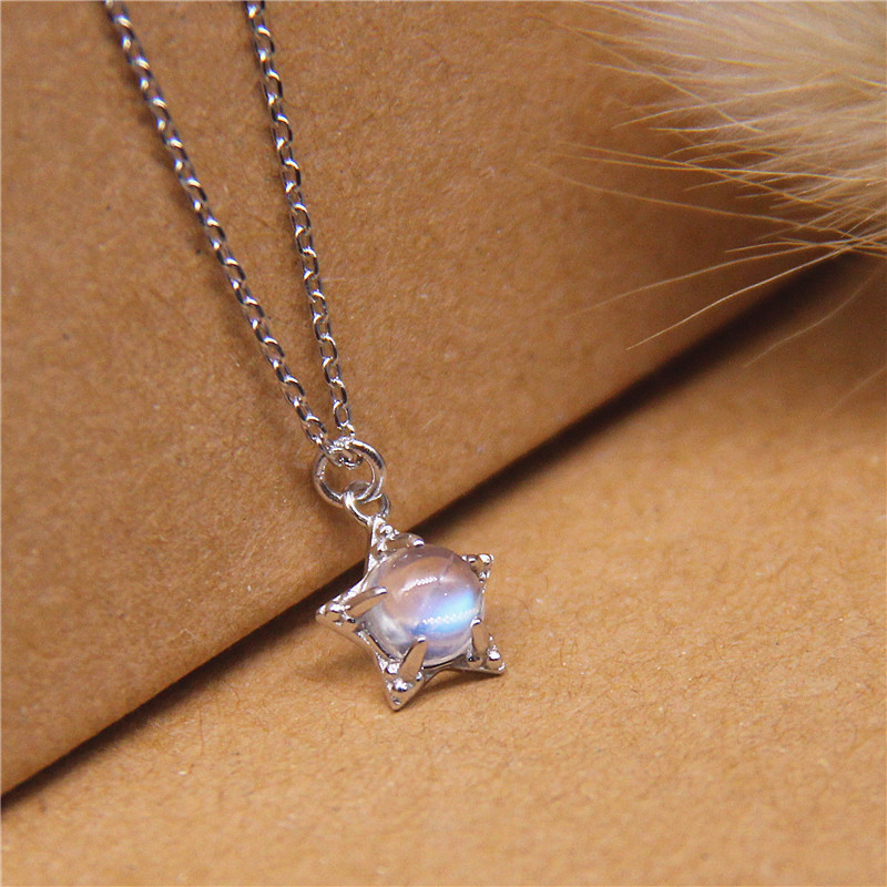 Natural Moonstone Star Pendant Clavicle Chain S925 Sterling Silver Necklace Blue Light Moonstone Small Pendant For Women