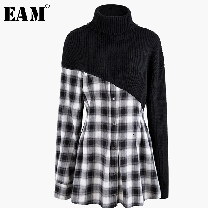 [EAM] Women Black Plaid Knitting Split Temperament Dress New High Collar Long Sleeve Loose Fit Fashion Spring Autumn 2019 1K069