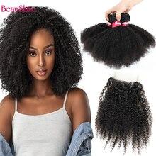 Brazilian Afro Kinky Curly Hair Bundes With 4x4 lace Closure 3 Bundles With Closure Afro curly Human Hair