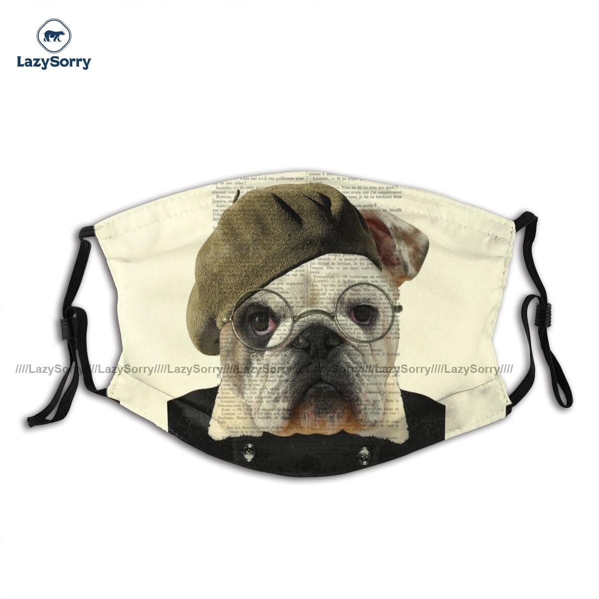 Uniques декоративные бульдог портрет животных в одежде маска для лица фантазия взрослых полиэстер маска для лица рот с фильтрами