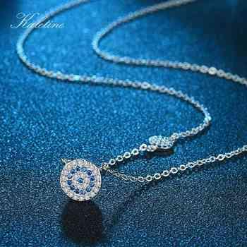 KALETINE Fashion 925 Sterling Silver Evil Eye Necklace Blue CZ Evil Eye Charm Long Women Necklace Pendants Link Chain KLTN042
