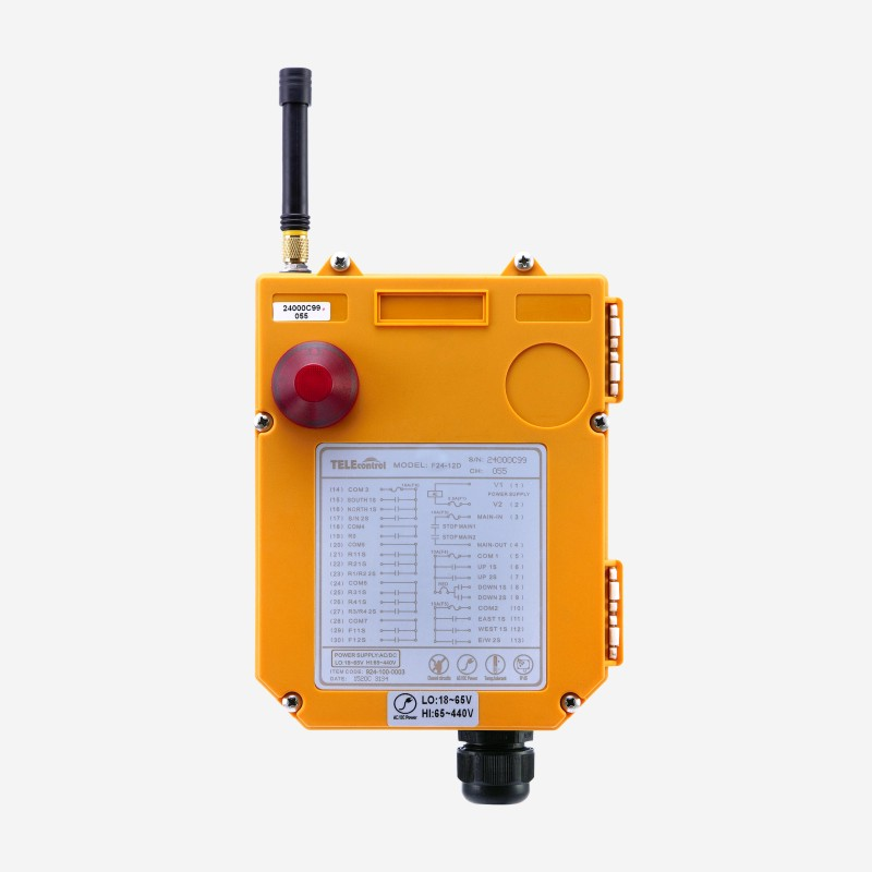 telecrane F24-12D 12 two-step pushbuttons multiple control system 2 transmitters wireless radio crane remote control station