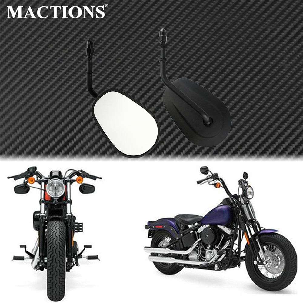 Motorcycle Rear View Side Mirrors Matte Black For Harley Touring Sportster XL Softail Bobber Chopper Road King 883 1200 FLRT