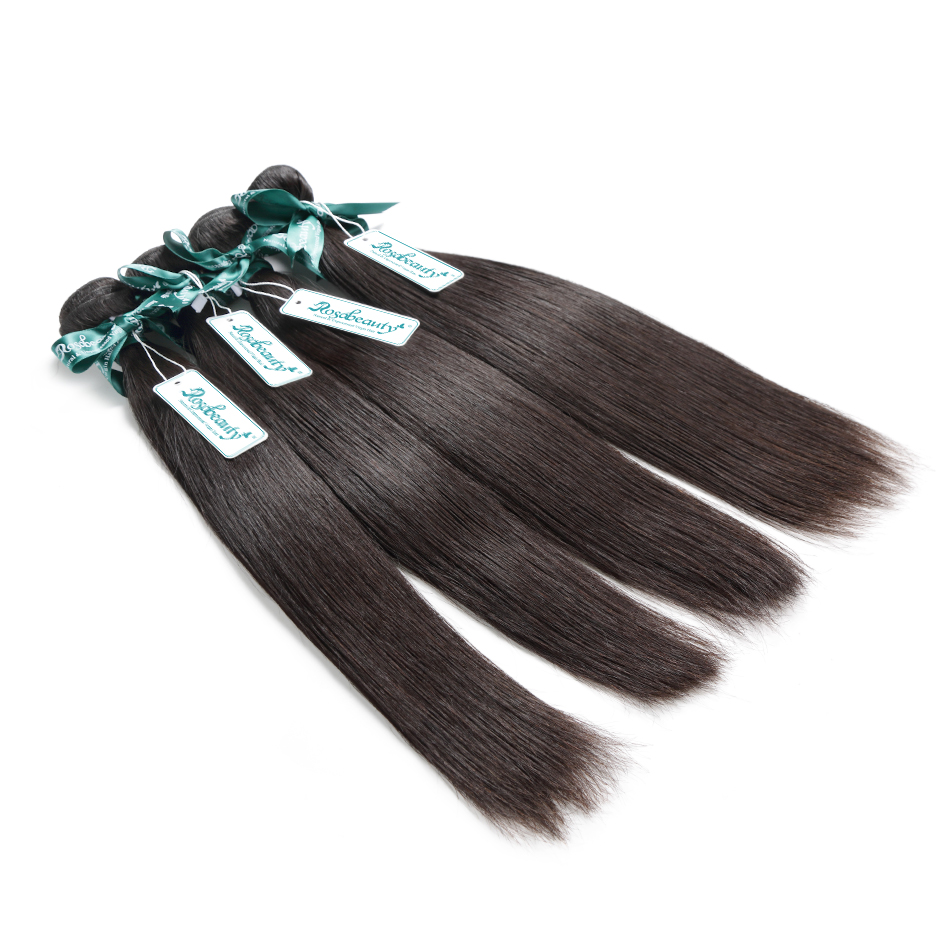 Rosabeauty Natural Color Brazilian Hair Weave Bundles Straight Unprocessed Human Hair Products 6-30 28 30 Inch Raw Virgin Hair