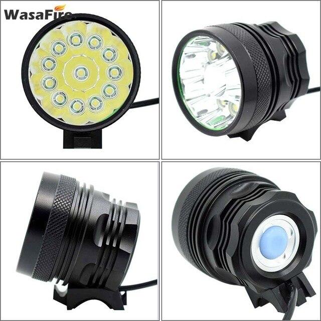 Wasafire 12 * t6 led 2 em 1 bicicleta farol 20000lm luz da frente lâmpada cabeça ciclismo lanterna + 18650 bateria carregador 4