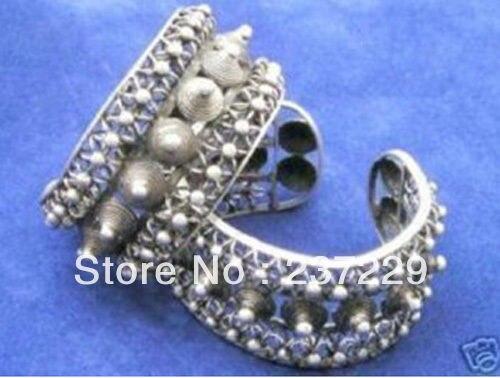 Prix de gros ^ ^ ^ ^ nouveau Double fil d'acier torsadé pointe Tibet argent réglable Bracelets de manchette Bracelets