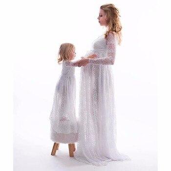 Prop V-Neck Long Sleeve Lace Maternity Dress 2
