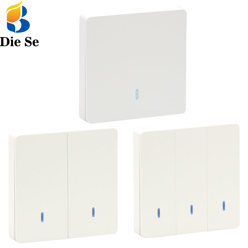 433Mhz Wireless rf 86 Wall Panel Transmitter Safety <font><b>Switch</b></font> Panel can be pasted <font><b>at</b></font> will Hall Living Bedroom Led Lights DIY <font><b>Switch</b></font> image