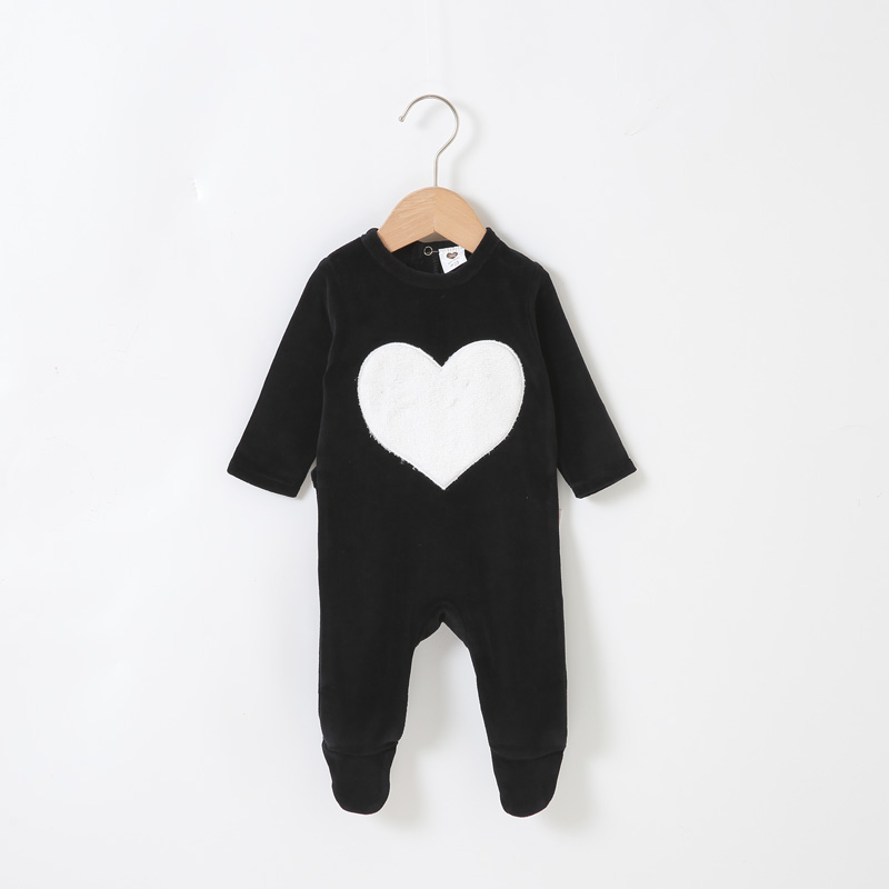 Baby Romper Pyjamas Kids Clothes Long Sleeves Children Clothing Heart Star Baby Overalls Ribbed Boy Girls Clothes Footies Romper