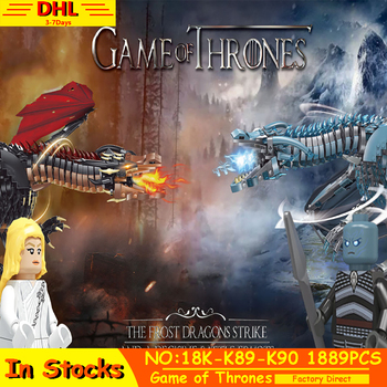 IN STOCK Game Of Thrones Dragon Viserion Black Death Balerion Drama Action Figures Building Blocks Bricks Red Ice Toys